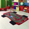Confetti Racer Kırmızı Biyeli Çocuk Odası Halısı