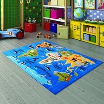 Confetti Continents Mavi Biyeli Çocuk Odası Halısı