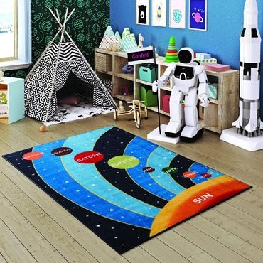 Confetti Galaxy Mavi Biyeli Çocuk Odası Halısı