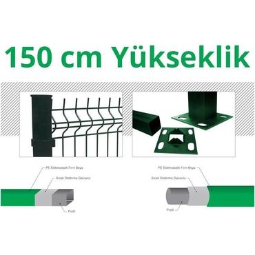 150cm Yeşil 5cm x 5cm x 1cm Çit Profil Demiri