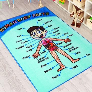 Confetti Anatomi Mavi Biyeli Çocuk Odası Halısı