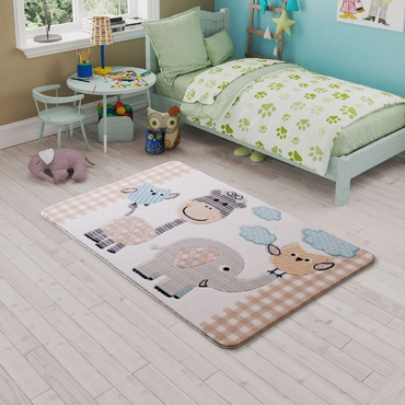 Confetti Animal Kingdom Bej Çocuk Odası Halısı
