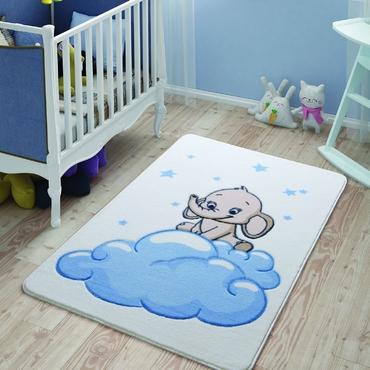 Confetti Baby Elephant Mavi Çocuk Odası Halısı