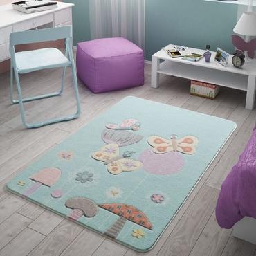 Confetti Butterfly Effect Mint Çocuk Odası Halısı