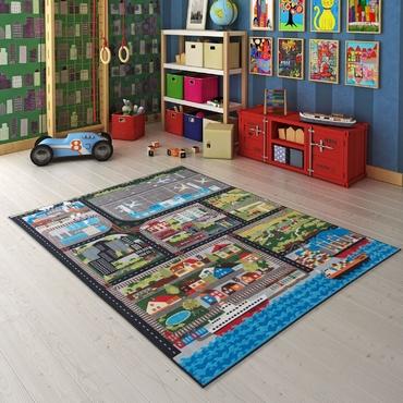 Confetti City Tour Gri Biyeli Çocuk Odası Halısı