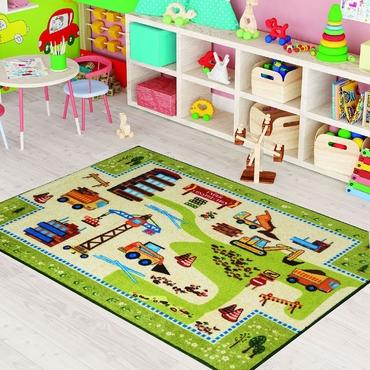 Confetti Construction Yeşil Biyeli Çocuk Odası Halısı