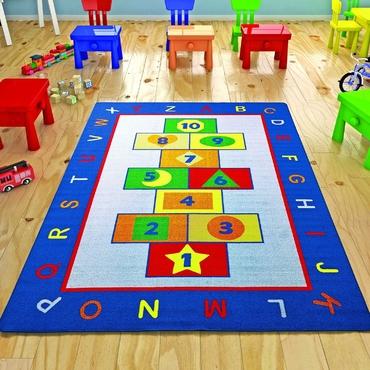 Confetti Game Mavi Biyeli Çocuk Odası Halısı